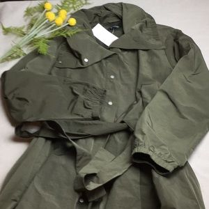 Eileen Fisher Rain Trench Army Green XL Snaps Tie
